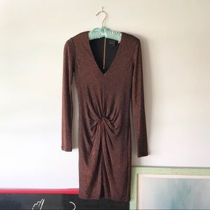 Ted Baker Long Sleeve Brown Sparkle Dress